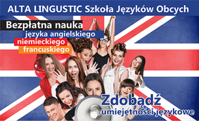 Plakat z flagą wielkiej Brytanii i napisami ALTA LINGUSTIC Szkoła Języków Obcych Bezpłatna nauka języka angielskiego niemieckiego francuskiego Zdobądź Jumiejętności jezykowe