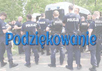 Zdjęcie policjantów i napis Podziękowanie