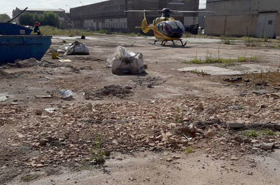 Helikopter na terenie zakładu