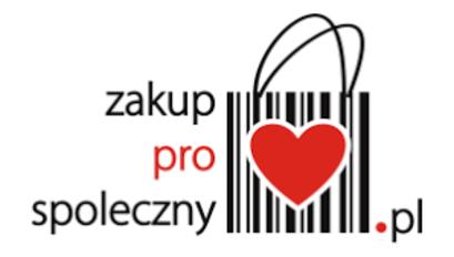 Ilustracja z napisem zakupprospoleczny.pl i sercem w torbie