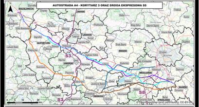 Mapa z zaznaczonym korytarzem A4