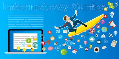 Infografika osoba na desce surfingowej wylatuje z ekranu na fali ikon programów z napisem INTERNETOWY SUFRFER