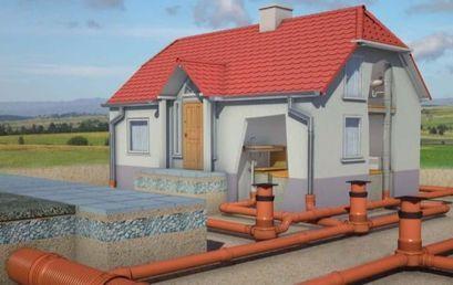 Wizualizacja podłączenia kanalizacji do domu