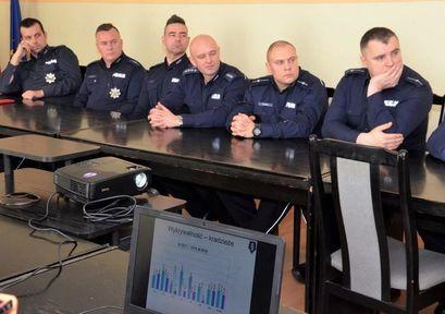 Policjanci w trakcie spotkania w sali narad Urzędu Miejskiego w Żarowie