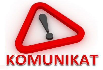 Napis Komunikat i wykrzyknik w trójkącie ostrzegawczym