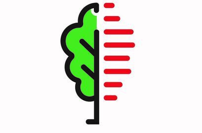 Nowe logo gminy Przedstawia pół drzewa i kreski czerwone poziome