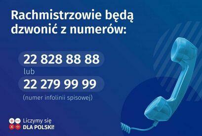 grafika telefony rachmistrzów z napisami:  Rachmistrzowie będą dzwonić z numerów: 22 828 88 88 lub 22 279 99 99 (numer infolinii spisowej) Liczymy się DLA POLSKI!