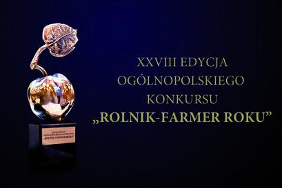 """Grafika Konkurs Rolnik-Farmer Rokuz napisem XXVIII EDYCJA OGÓLNOPOLSKIEGO KONKURSU """"ROLNIK-FARMER ROKU"""""""