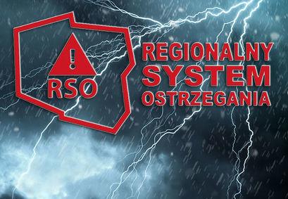 Logo RSO Regionalny System Ostrzegania na tle pioruna