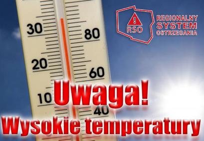 Zdjęcie termometr z logo RSO REGIONALNY SYSTEM i napisem Uwaga! Wysokie temperatury