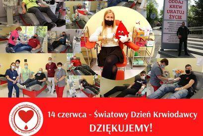 Plakat  z napisami i zdjęciami ODDAJ KREW URATUJ ŻYCIE 14 czerwca - Światowy Dzień Krwiodawcy DZIĘKUJEMY!