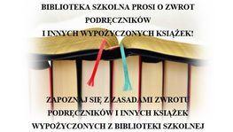 Informacja dotycząca zwrotu książek i podręczników