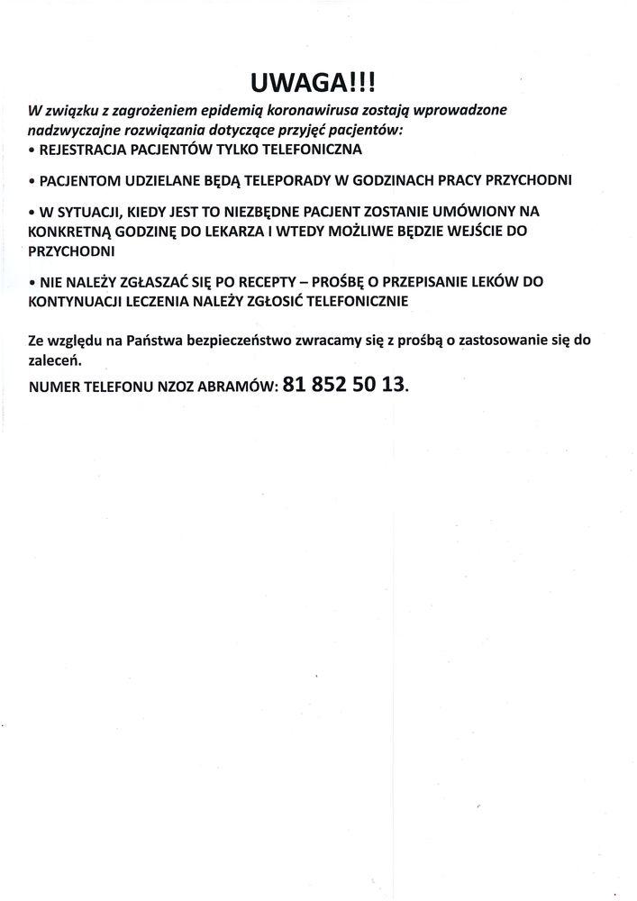 Plik jpg - Informacja - Ośrodek Zdrowia w Abramowie