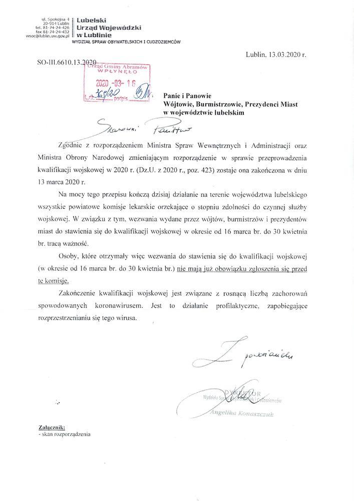Pismo - Zakończenie kwalifikacji wojskowej w 2020 r.