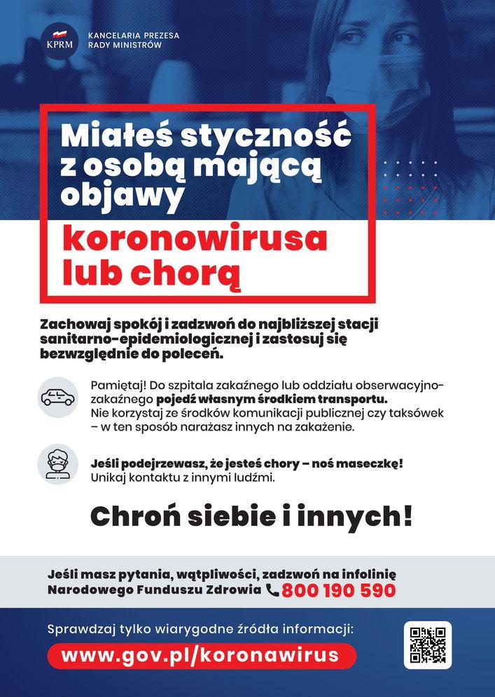 Plakat - Miałeś styczność z osobą mającą objawy koronawirusa lub chorą
