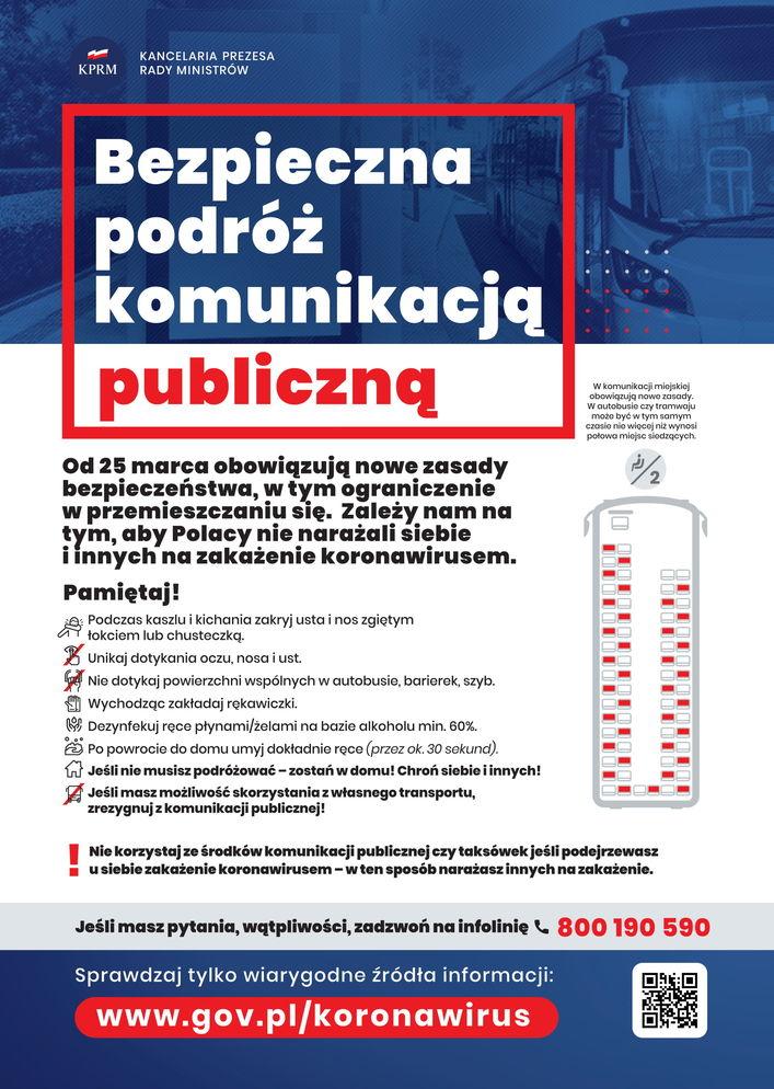 Plakat - Bezpieczna podróż komunikacją publiczną
