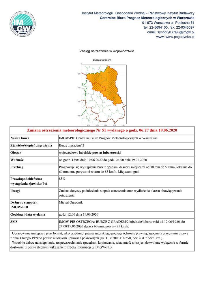 Zmiana ostrzeżenia meteorologicznego Nr 51 wydanego o godz. 06:27 dnia 19.06.2020