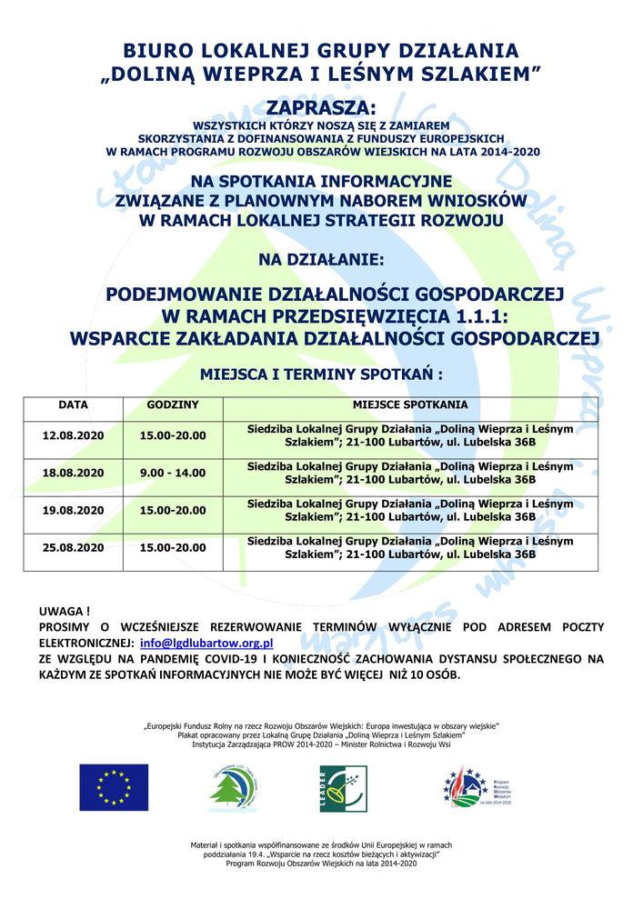 plakat- spotkania informacyjne przed naborem wniosków