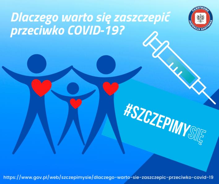 Grafika z napisem Dlaczego warto się zaszczepić przeciwko COVID-19? H #SZCZEPIMYSIĘ https://www.gov.pl/web/szczepimysie/dlaczego-warto-sie-zaszczepic-przeciwko-covid-19