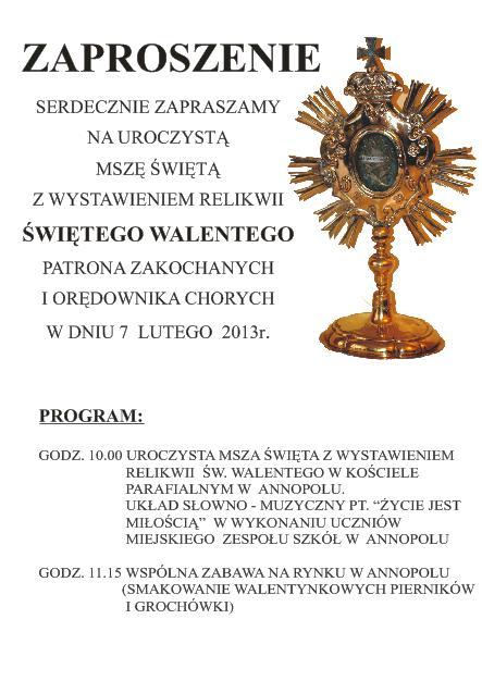 Zaproszenie na wystawienie relikwii