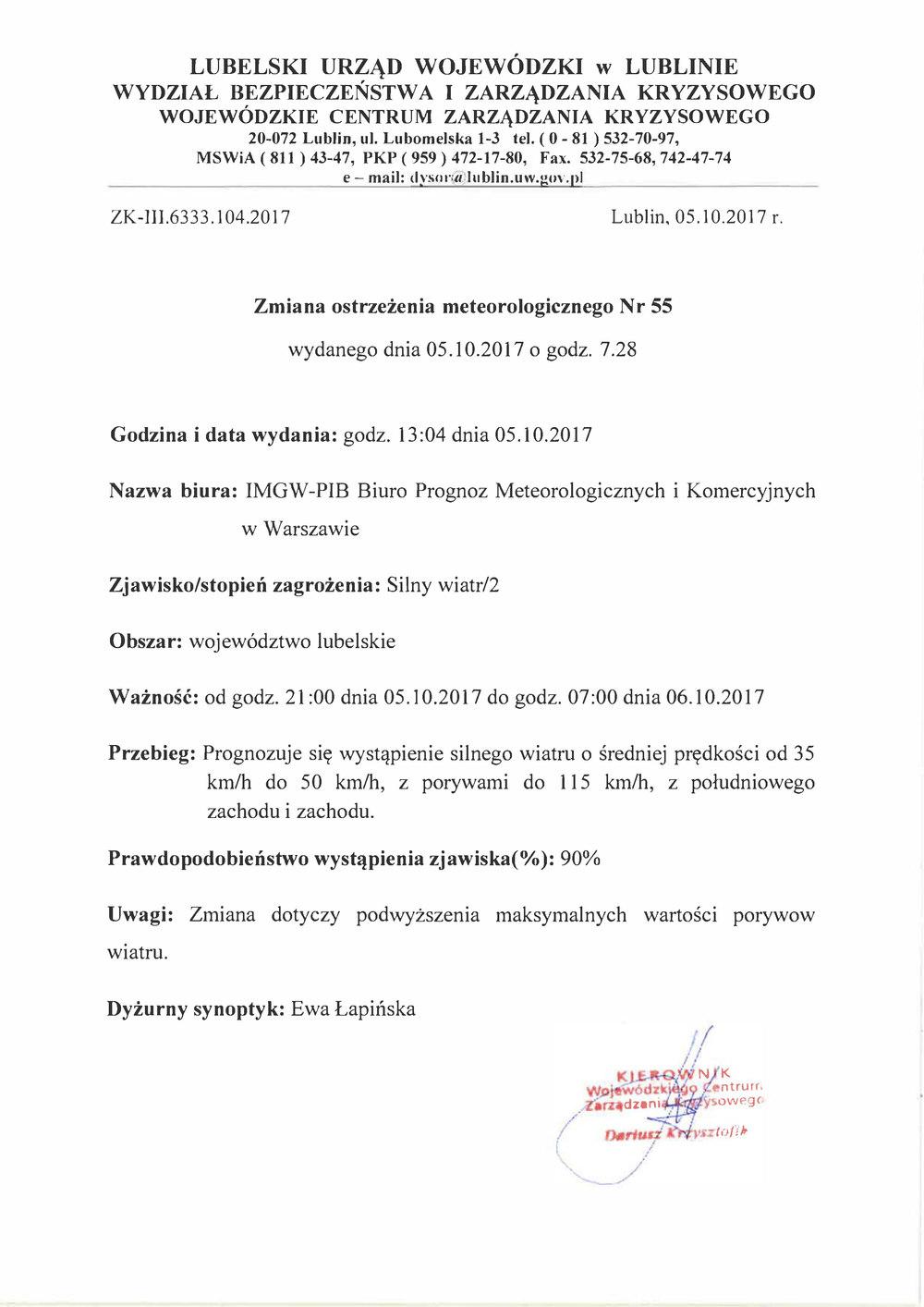 Zmiana ostrzeżenia meteorologicznego Nr 55 wydanego dnia 05.10.2017 o godz. 7.28