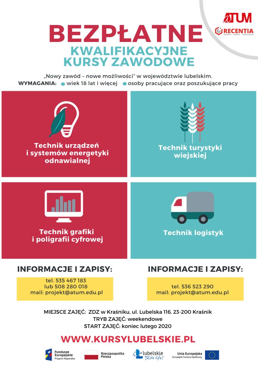 Plakat - Bezpłatne Kwalifikacyjne Kursy Zawodowe