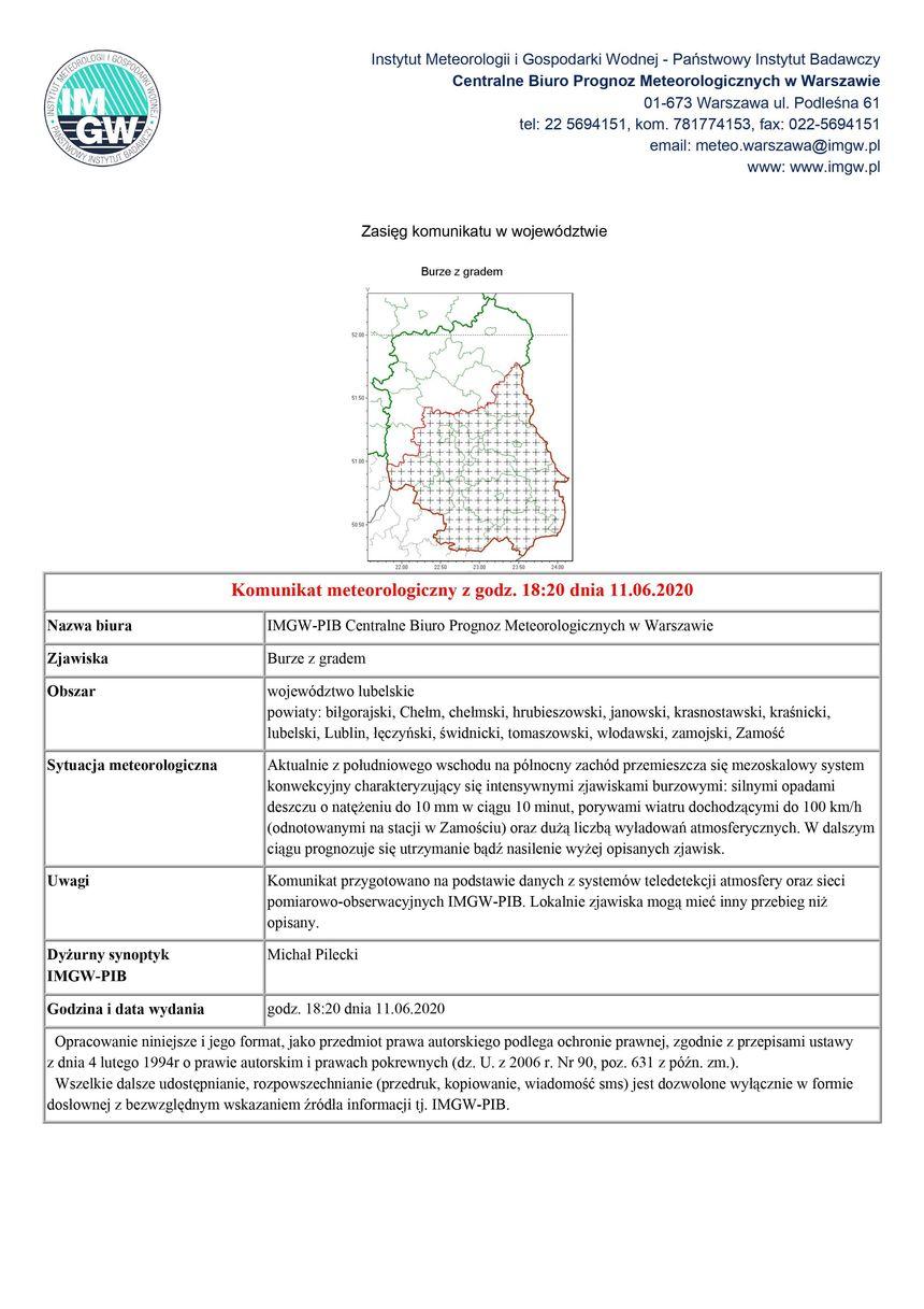 Komunikat meteorologiczny z godz. 18:20 dnia 11.06.2020