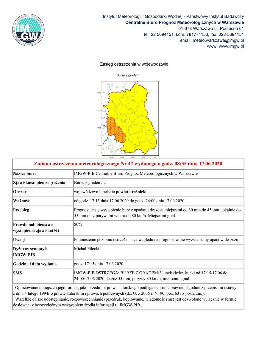 Zmiana ostrzeżenia meteorologicznego Nr 47 wydanego o godz. 08:55 dnia 17.06.2020