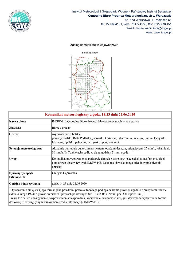 Komunikat meteorologiczny z godz. 14:23 dnia 22.06.2020