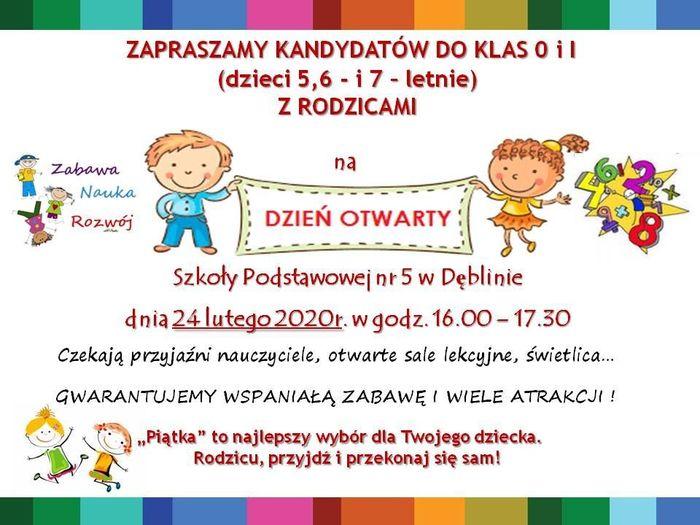 Plakat - Dzień Otwarty w Szkole Podstawowej nr 5 w Dęblinie