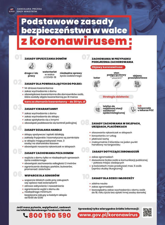 Plakat - Podstawowe zasady bezpieczeństwa w walce z koronwirusem