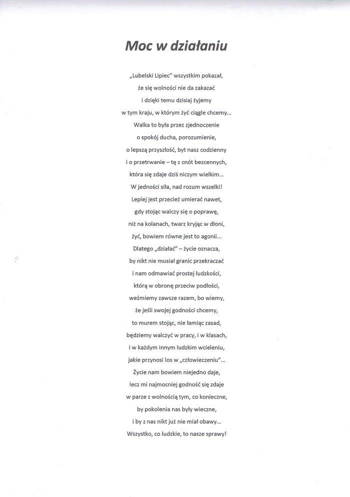 Wiersz - Moc w działaniu
