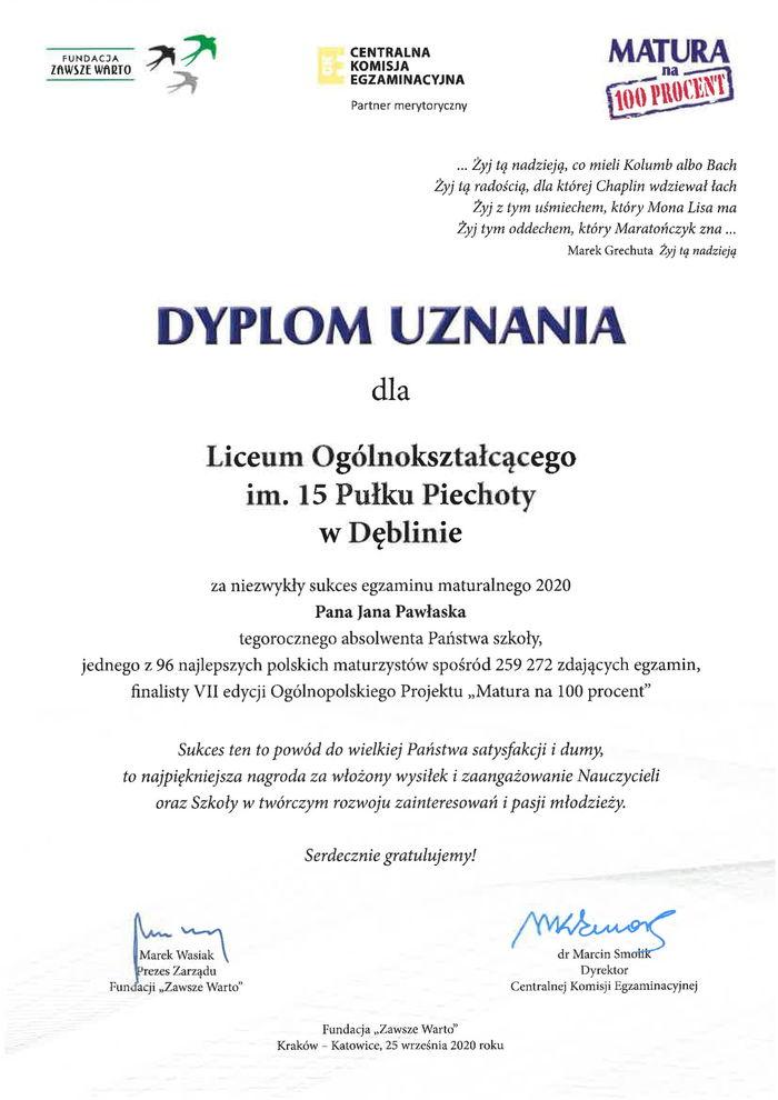 Dyplom uznania Jan Pawłasek