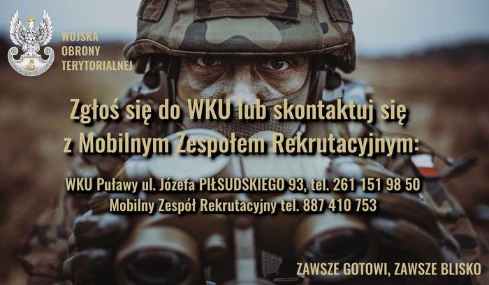 Baner z informacją: Zgłoś się do WKU lub skontaktuj się z Mobilnym Zespołem Rekrutacyjnym. W tle żołnierz i logo Wojska Obrony Terytorialnej