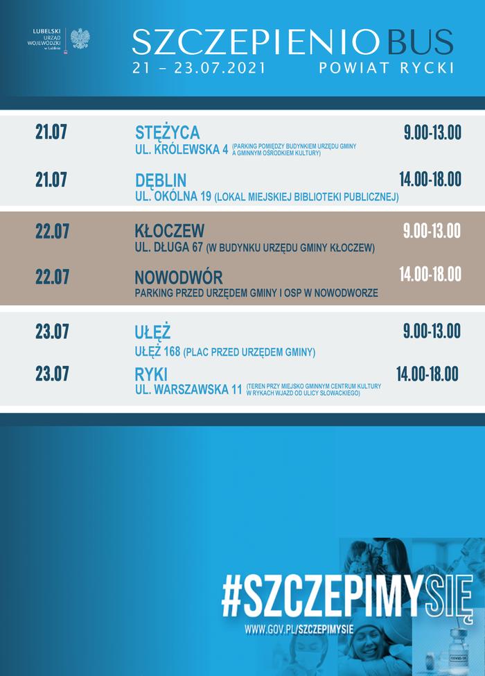 harmonogram trasy szczepieniobusa w powiecie ryckim w dniach 21-23.07.2021r.