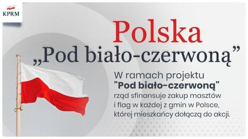KPRM Polska Pod biało-czerwoną W ramach projektu Pod biało-czerwoną rząd sfinansuje zakup masztów i flag w każdej z gmin w Polsce, której mieszkańcy dołączą do akcji.