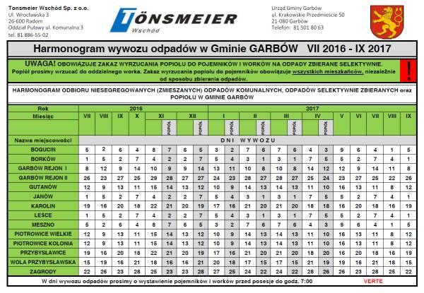 Harmonogram odpadów 2016-17