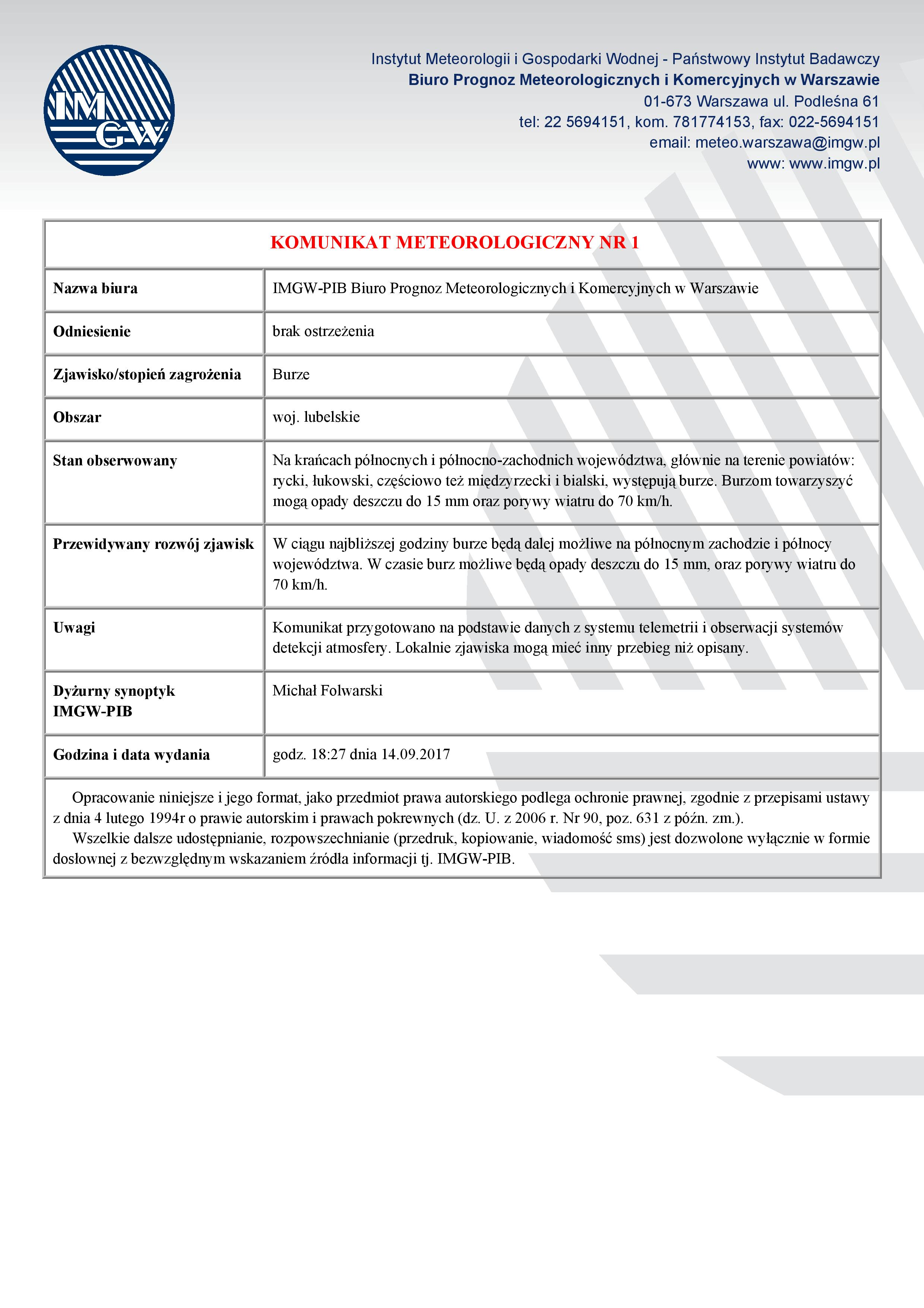 KOMUNIKAT METEOROLOGICZNY NR 1 z dn. 14.09.2017 r. [PDF, 64 KB]