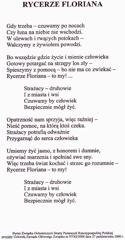 wiersz Rycerze Floriana