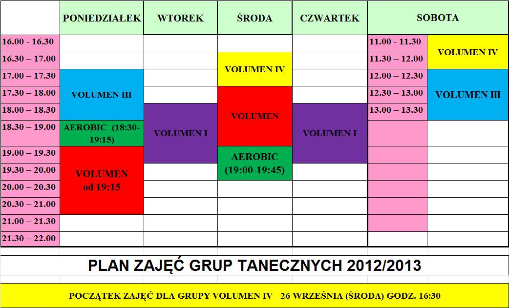 Plan zajęc grup tanecznych
