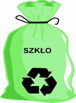 Grafika Worek zielony z napisem szkło