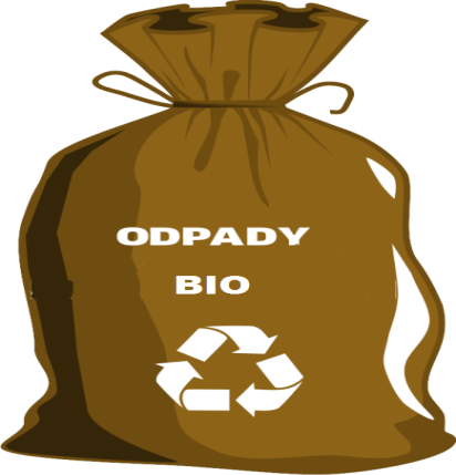 Worek brązowy z napisem Bio Odpady