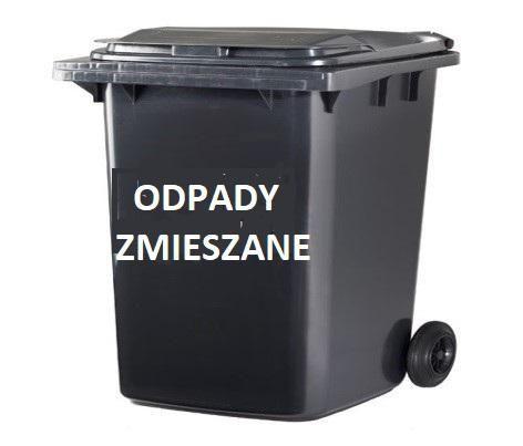 Grafika pojemnik z napisem odpady zmieszane