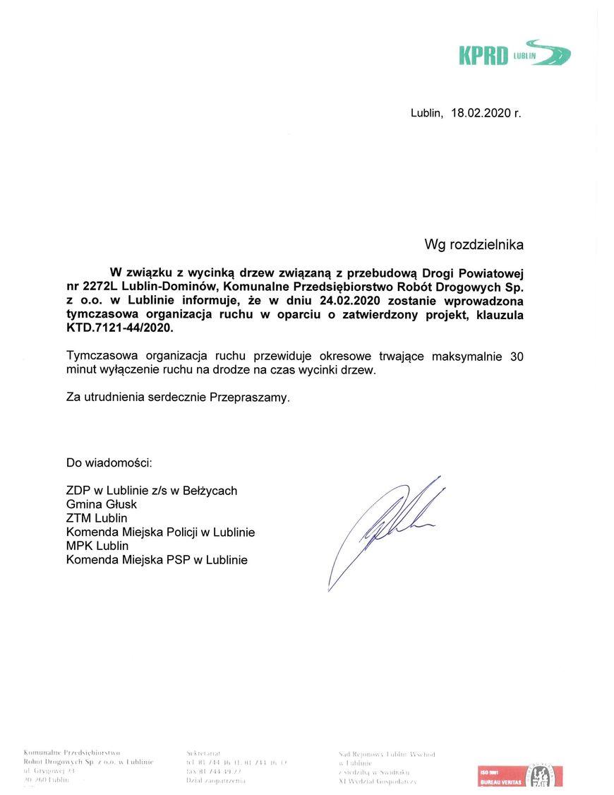 Plik jpg - Utrudnienia w ruchu na drodze powiatowej 2272 L Lublin – Dominów