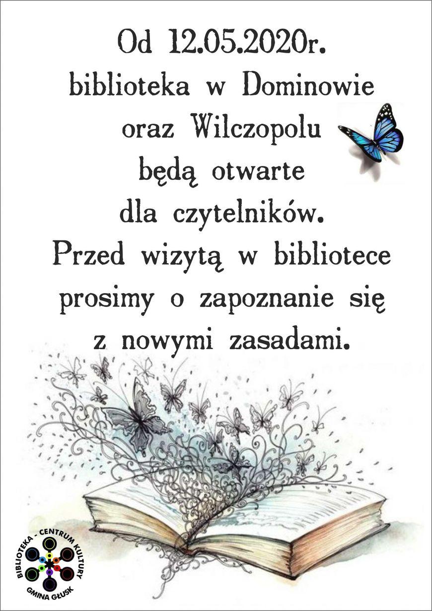 Plakat - Otwarcie Biblioteki w Dominowie oraz Wilczopolu