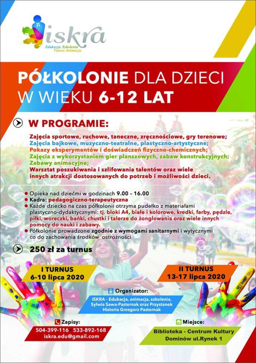 Plakat - Półkolonie dla dzieci w wieku 6-12 lat