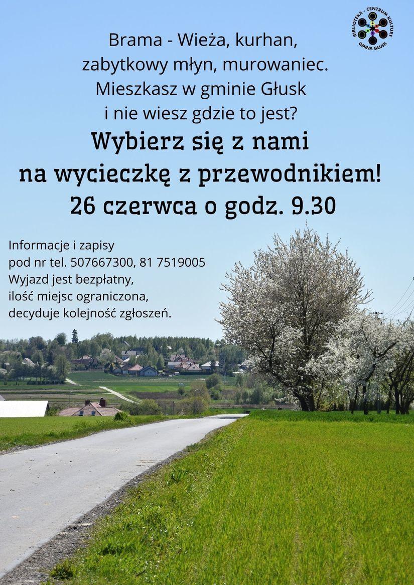 Plakat Brama - Wieża, kurhan, GMINA GAUS zabytkowy młyn, murowaniec. Mieszkasz w gminie Głusk i nie wiesz gdzie to jest? Wybierz się z nami na wycieczkę z przewodnikiem! 26 czerwca o godz. 9.30 Informacje i zapisy pod nr tel. 507667300, 81 7519005 Wyjazd jest bezpłatny, ilość miejsc ograniczona, decyduje kolejność zgłoszeń.