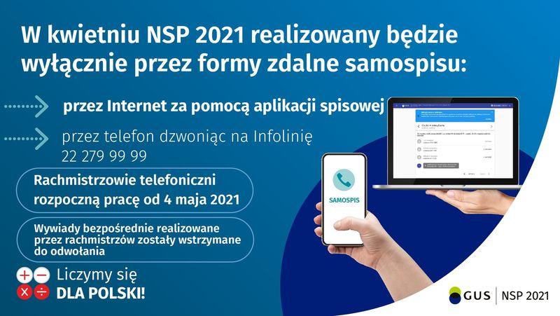 Plakat z informacją: W kwietniu NSP 2021 realizowany będzie wyłącznie przez formy zdalne samospisu: przez Internet za pomocą aplikacji spisowej przez telefon dzwoniąc na Infolinię 22 279 99 99 Rachmistrzowie telefoniczni rozpoczną pracę od 4 maja 2021 SAMOSPIS Wywiady bezpośrednie realizowane przez rachmistrzów zostały wstrzymane do odwołania Liczymy się  DLA POLSKI! GUS NSP 2021
