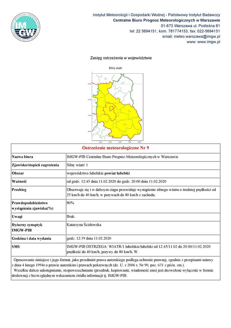 Plik jpg - Ostrzeżenie meteorologiczne Nr 9