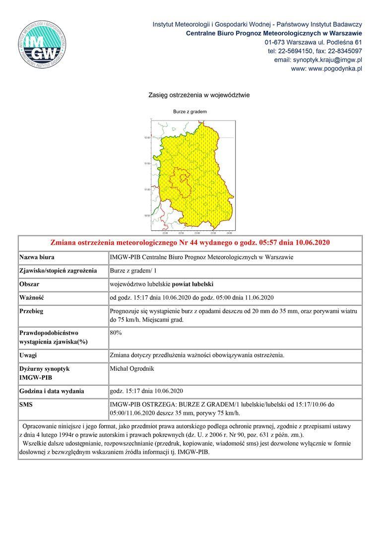 Zmiana ostrzeżenia meteorologicznego Nr 44 wydanego o godz. 05:57 dnia 10.06.2020